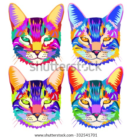 Set of pop art cats, geometric portrait of animal, can be used to design for T-shirt, card, poster, invitation. Vector illustration