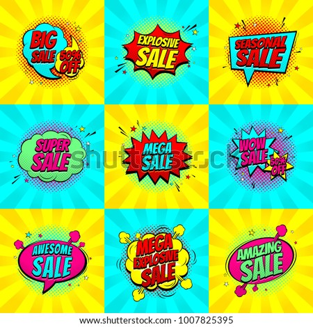 Set of pop art comic sale discount promotion symbols. Decorative Collection of backgrounds with bomb explosive. Vector illustration with speech bubbles. #1007825395