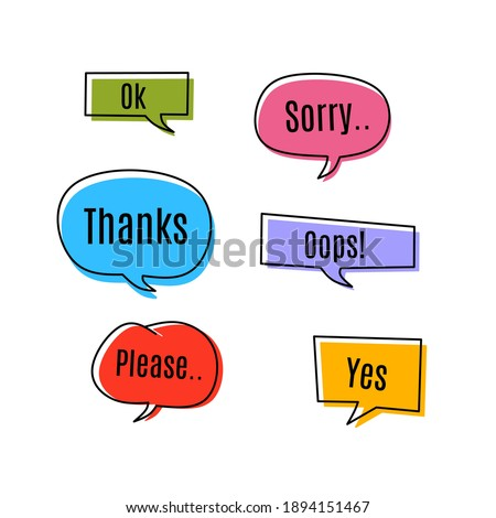 Set of pop art speech colored text design with handwriting bubble chat decoration. Give expression icon. Thanks, sorry, oops, ok, please, yes text. Vector flat design style