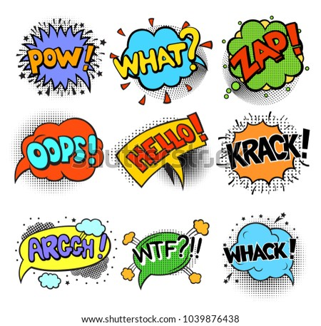 Set of Pop art style comic exclamations. Comic book style illustrations. Words in speech bubble patch badge. Vector fashion sticker, pin, patch in cartoon 80s-90s style #1039876438