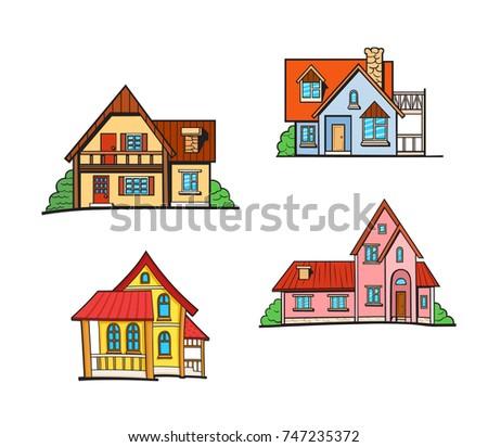 set of pop art style houses...