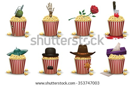 set of popcorn basket with