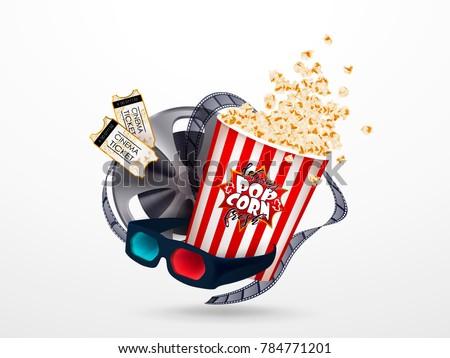 Set of popcorn, 3d glasses, cinematograph tape, cinema ticket. Drawn vector illustration, realistic cinematography design, vintage colorful background, art for online cinema, movie, film, theater,..