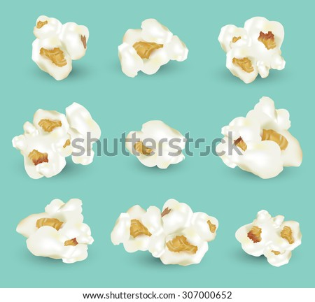 set of popcorn vector