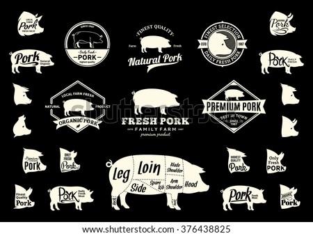 set of pork logo butchery