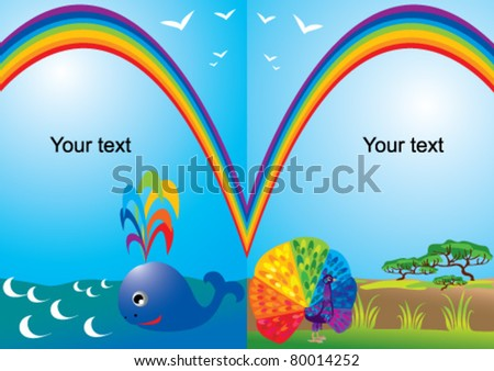 Set of portrait frames with rainbow, whale and peacock