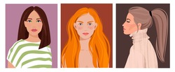 Set of portraits of women of different gender and age. Diversity. Vector flat illustration. Avatar for a social network.  Vector flat illustration