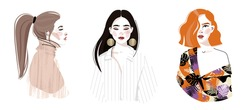 Set of portraits of women of different race gender and age. Diversity. Vector flat illustration. Avatar for a social network.  Vector flat illustration