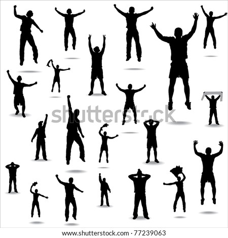 Set of poses from fans for sports championships and music concerts.