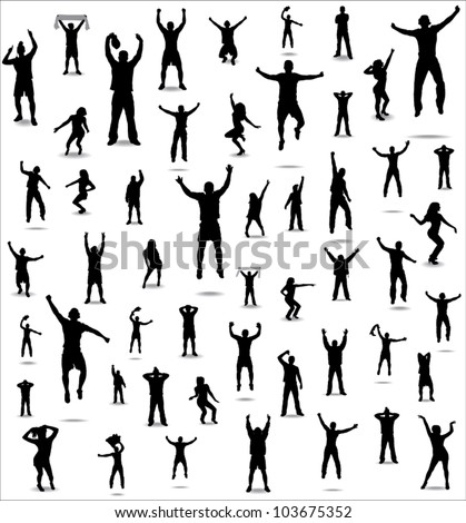 Set of poses from fans for sports championships and music concerts. Boys and girls.