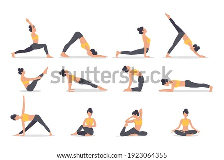 Set of poses woman yoga. Collection of female cartoon yoga positions isolated on white background. Full body yoga workout, eps 10