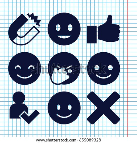 set of 9 positive filled icons