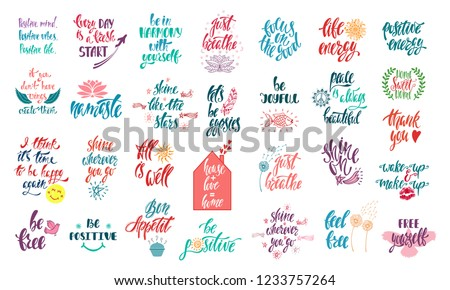 Set of positive inspirational quotes with sketch elements. Modern calligraphy hand drawn phrases. Vector lettering for print, tshirt, poster. Typographic design.