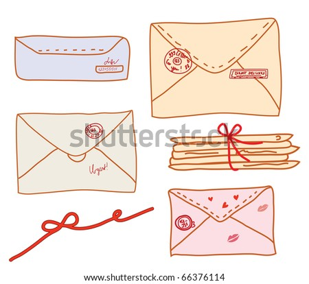 Set of post funny letters cartoon