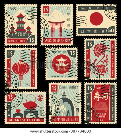 set of postage stamps on the
