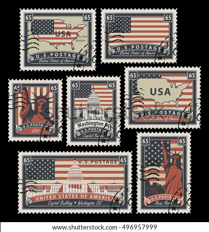 set of postage stamps with the...