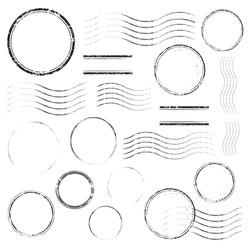 Set of postal stamps and postmarks, black isolated on white background, vector illustration.