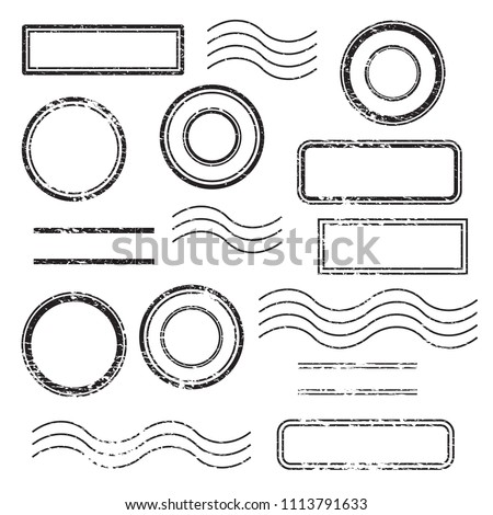 Set of postal stamps and postmarks, black isolated on white background, vector illustration. Foto stock ©