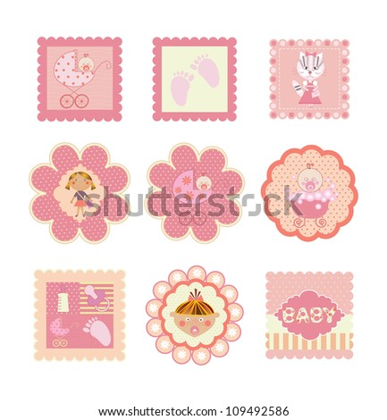 set of postcards, stickers for girls