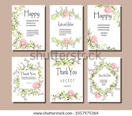 Set of postcards with pink flowers and green leaves. Vector illustration. Decorative invitation to the holiday. Wedding, birthday. A universal card.Pink roses . #1057975364