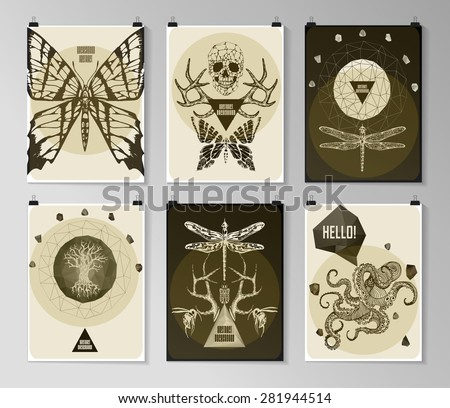 Set of poster, flyer, brochure design templates in gothic style. Symbol,logo, sign for tattoo. Abstract modern backgrounds.