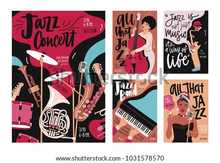 Set of poster, flyer or invitation templates for instrumental jazz music festival, event or concert with musical instruments, players and singers. Modern vector illustration in creative cartoon style.