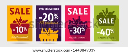 Set of poster for grocery store advertising events with shopping basket pictogram full of meal goods, simple mordern graphic leaflet with percentage discount up to 10, 20 and 30, 40 per cent