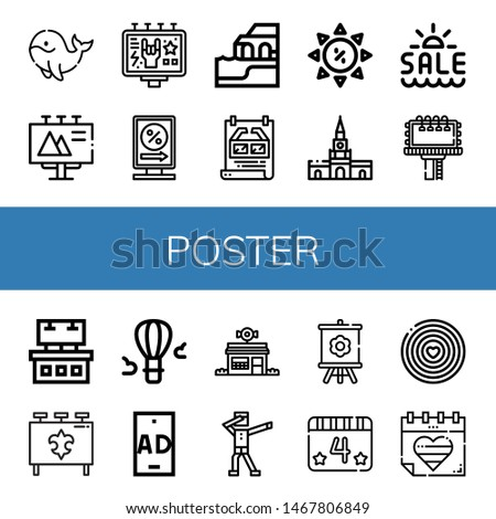 Set of poster icons such as Whale, Billboard, Billboards, Algarve, Poster, Summer sale, Cartagena, Ads, Hot air balloon, Ad, Candy shop, Dab, Canvas, th of july, World pride day , poster