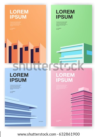 Set of posters. Backgrounds with abstract architecture. Vertical placard with place for text. Colorful vector illustration