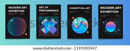 Set of posters for art exhibition or music event with holographic spheres on dark background. Modern, psychedelic, surreal design. Trendy neon colors, retrowave/ synthwave 80s-90s aesthetics.