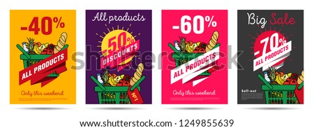 Set of posters for grocery food store with shopping basket illustration and discounts numbers Foto stock ©