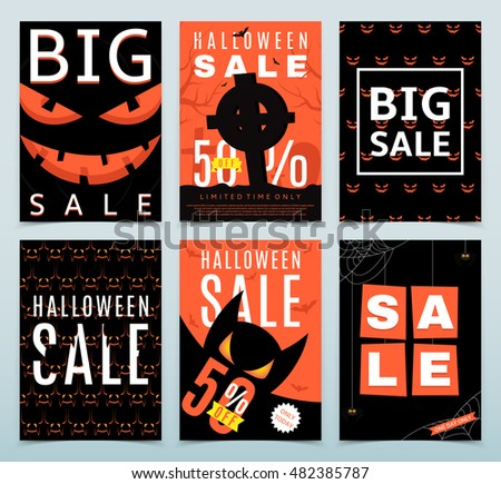 Set Of Posters For Halloween Sale. Vector Illustration. Collection Of  Orange And Black Flyers