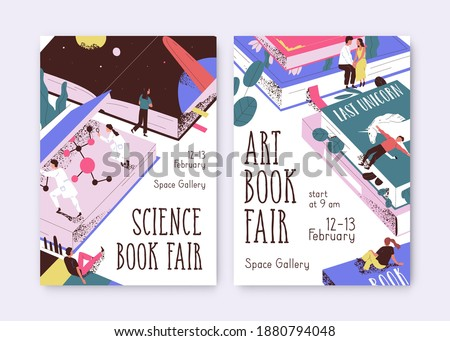 Set of posters for science and art book fair vector illustration. Promo templates with tiny people and giant textbooks. Placard for literary event, literature festival with a place for text Stockfoto ©