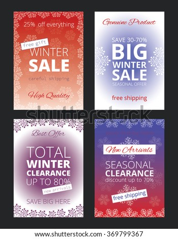 Set of posters for winter sale