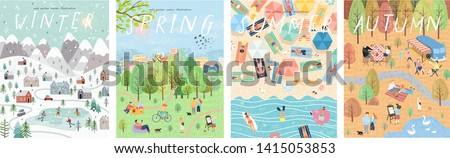 Set of posters for winter, spring, summer and autumn. Cute vector illustration of four seasons. Drawings of people, nature, trees, park and beach stock photo