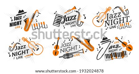 Set of posters jazz night live vector illustration. Invitation to a live jazz and blues concert. Musical instruments and accessories on a star background. Banner for a concert in a jazz club Stock photo ©