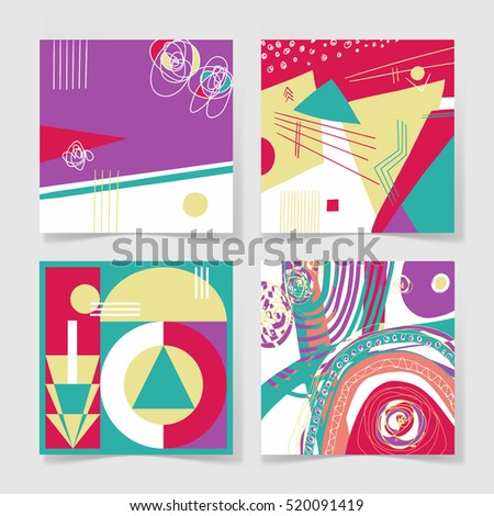 set of 4 posters with abstract