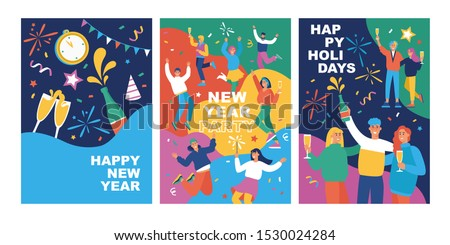 Set of posters with happy young fashion-dressed people celebrating the New Year.  Flat cartoon colorful vector illustration. Templates for card, banner or flyer.
