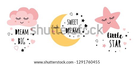Set of posters yellow sleepy moon pink star cloud for baby room decoration Childish style pink color Perfect for fabric print logo sign cards banners Kids wall art design Vector illustration.