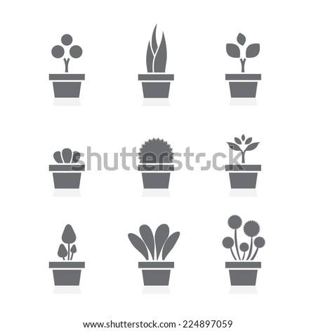 set of pot plants black symbol