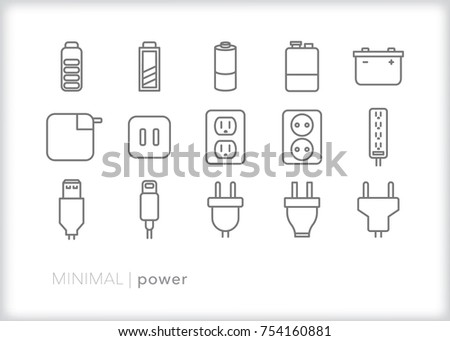 Set of 15 power icons of energy sources such as battery, socket, power cord, power strip, USB, and prong plug