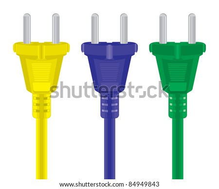 Set of power plug - cord on a white background. Vector illustration.