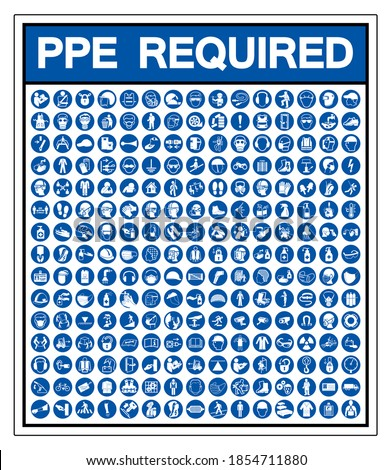 Set Of PPE Required Symbol Sign, Vector Illustration, Isolated On White Background Label .EPS10