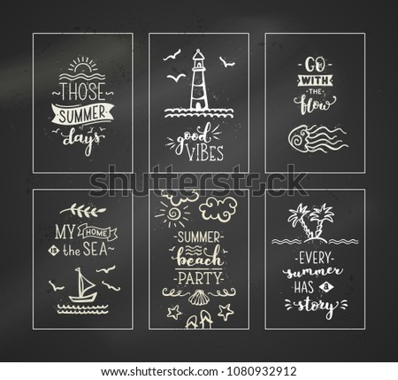 set of 6 pre made chalk ocean