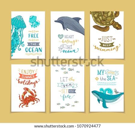 set of 6 pre made ocean
