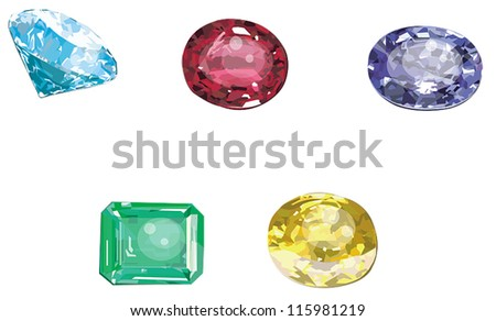 Set of 5 precious jewelry gems such as diamond, ruby, topaz, emerald, and sapphires stone icon collection set in isolated background, create by vector