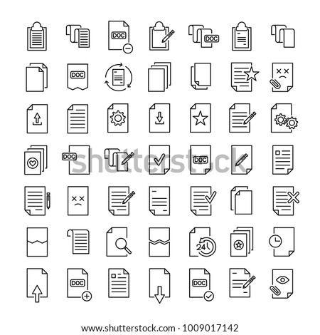 Set of premium document icons in line style. High quality outline symbol collection of file. Modern linear pictogram pack of period. Stroke vector illustration on a white background.