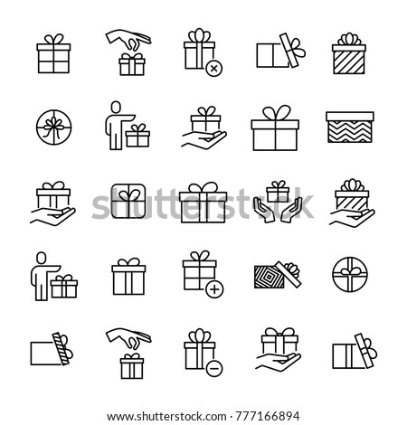 set of premium gift icons in