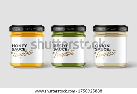 Set of Premium glass container with blank label template isolated on light grey background : Vector Illustration Foto stock ©