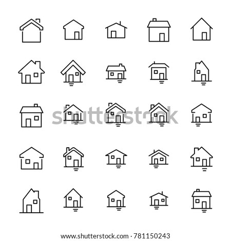 Set of premium home icons in line style. High quality outline symbol collection of house. Modern linear pictogram pack of period. Stroke vector illustration on a white background.